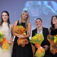 Ana Ivanovic, Maria Sharapova, Sara Errani et Roberta Vinci lors de la conférence de presse du tournoi La Grande Sfida à Milan le 3 décembre 2012