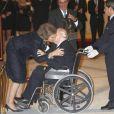Intense émotion lorsque la reine a récompensé la légende du Real Madrid, le président d'honneur Alfredo Di Stefano. La reine Sofia d'Espagne, le prince Felipe, la princesse Letizia et l'infante Elena étaient réunis au palais du Pardo à Madrid le 5 décembre 2012 pour décerner les Prix nationaux à des personnalités du monde du sport, dont Cristiano Ronaldo.