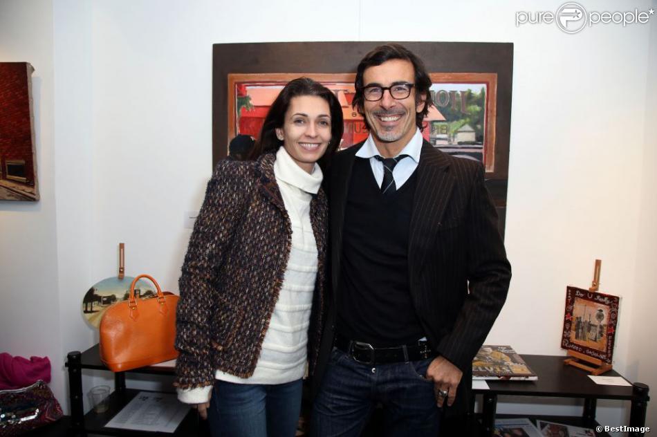 Laurent Hubert et sa compagne Adeline Blondieau au vernissage de l'exposition 'Amérique - Instantanés' de Laurent Hubert à la galerie Myriane à Paris, le 13 décembre 2012