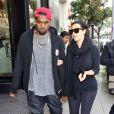 Kim Kardashian et Kanye West quittent le restaurant Nate 'n Al à Beverly Hills. Le 24 décembre 2012.