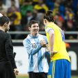 Zlatan Ibrahimovic et Lionel Messi  lors du match amical entre la Suède et l'Argentine le 6 février 2013 à la Friends Arena de Solna (3-2 pour l'Argentine)