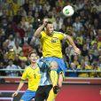 Zlatan Ibrahimovic lors du match amical entre la Suède et l'Argentine le 6 février 2013 à la Friends Arena de Solna (3-2 pour l'Argentine)