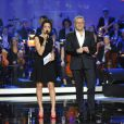 Laurent Ruquier et Virginie Guilhaume présentaient la 28e cérémonie des Victoires de la Musique à Paris, le 8 février 2013.