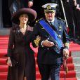 Le prince Laurent de Belgique et la princesse Claire à Notre-Dame du Luxembourg pour le mariage du prince Guillaume, le 20 octobre 2012
