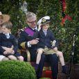 Le prince Laurent de Belgique et la princesse Claire lors de la Fête nationale, le 21 juillet 2012
