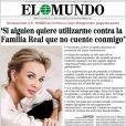 Corinna zu Sayn-Wittgenstein, 'tendre amie' du roi Juan Carlos Ier d'Espagne, faisait la une de El Mundo en Espagne, en marge du scandale Noos.