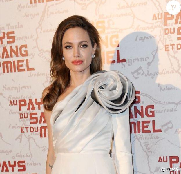 Angelina Jolie présentait à Paris son premier long-métrage du film Au pays du sang et du miel au MK2 Bibliothèque, le 16 février 2012.