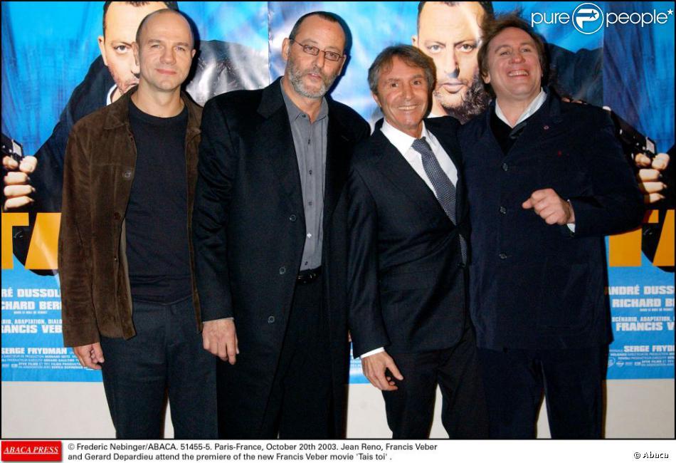 Jean Reno, Francis Veber et Gérard Depardieu lors de la première de Tais-toi à Paris le 21 octobre 2003