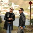 Sharon Stone et Martin Mica admirant les décors de la vallée du Douro, Portugal, le 21 mars 2013.