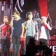 Harry Styles et les membres des One Direction sur scène à Londres, le 6 avril 2013. Le chanteur a terminé en boxer à cause d'une blague de Liam Payne.