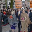 La reine Beatrix, le prince Willem-Alexander et la princesse Maxima des Pays-Bas à Utrecht le 11 avril 2013 pour fêter les 300 ans du Traité d'Utrecht et lancer le programme de commémorations prévues par la ville jusqu'en septembre.