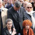 Simone Veil, son fils Pierre-Francois, madame Marie-Josee Balladurlors des obsèques d'Antoine Veil au cimetière du Montparnasse à Paris le 15 avril 2013.