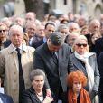 Edouard Balladur, Simone Veil, son fils Pierre-Francois, madame Marie-Josee Balladurlors des obsèques d'Antoine Veil au cimetière du Montparnasse à Paris le 15 avril 2013.