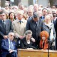 Francois Fillon, Edouard Balladur, Simone Veil, son fils Pierre-Francois et madame Marie-Josee Balladurlors des obsèques d'Antoine Veil au cimetière du Montparnasse à Paris le 15 avril 2013.