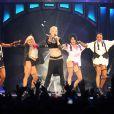 La chanteuse Pink sur la scène du Palais Omnisports de Paris-Bercy dans le cadre de sa tournée  Truth About Love , à Paris le 17 avril 2013.