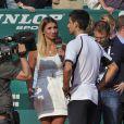 Tatiana Golovin et Novak Djokovic en interview à la fin du match du Serbe face à Juan Monaco lors du Masters 1000 de Monte Carlo le 18 avril 2013