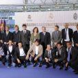 """Luis Figo et Zinédine Zidane lors de la présentation du match de charité""""Corazón classic match"""" à Madrid, le 18 avril 2013"""