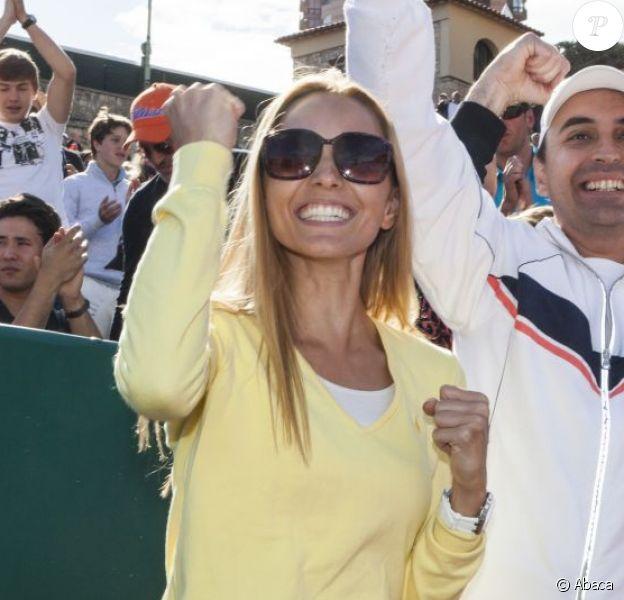 Jelena Ristic, heureuse arpès la victoire de son homme Novak Djokovic en finale du tournoi de tennis du Monte Carlo Rolex Masters 1000 à Monaco le 21 Avril 2013 face à Rafael Nadal