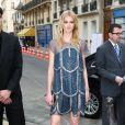 """Sigrid Agren arrive à l'exposition """"N°5 Culture Chanel"""" au Palais de Tokyo à Paris le 3 mai 2013. L'exposition """"N°5 Culture Chanel"""" retrace l'histoire et les secrets, jusqu'alors bien gardés, du mythique parfum de la maison Chanel."""