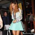 Rihanna, ultra chic en chemisier et jupe Balmain, sortait dîner au restaurant Da Silvano avant de retourner à son hôtel, le Gansevoort. New York, le 8 mai 2013.