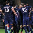L'équipe du PSG a célébré son titre de champion de France acquis après sa victoire 1-0 sur la pelouse de l'Olympique Lyonnais, le 12 mai 2013 à Lyon