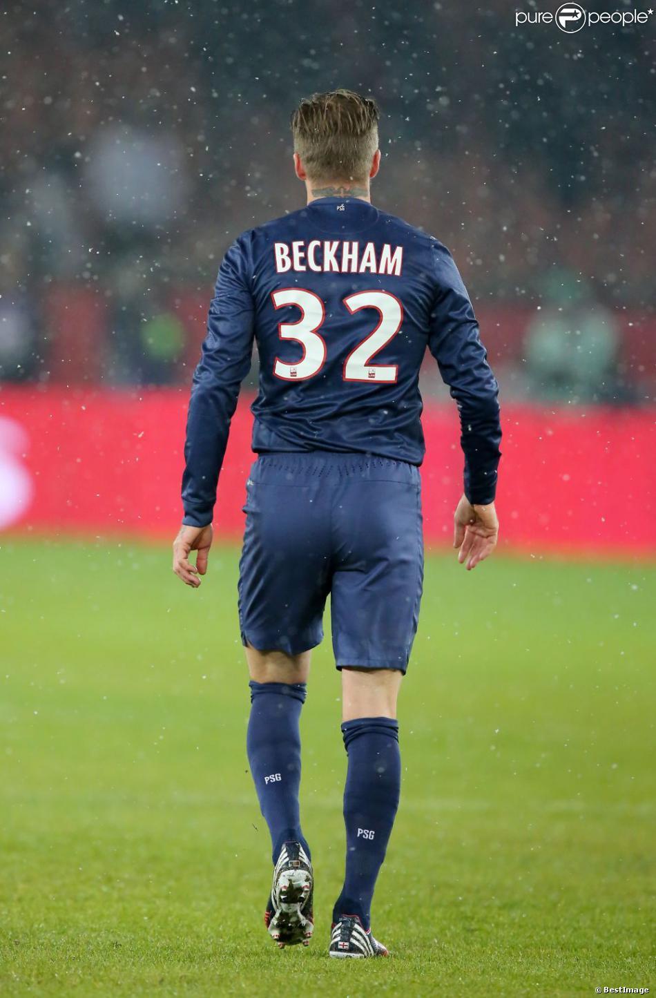 David Beckham lors du match face à l'Olympique de Marseille le 24 février 2013 au Parc des Princes à Paris