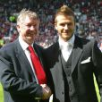 David Beckham et Sir Alex Ferguson le 11 mai 2002 à Manchester