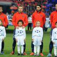 David Beckham entouré de Lucas Moura, Javier Pastore et Zlatan Ibrahimovic le 2 avril 2013 avant le match face au FC Barcelone au Parc des Princes à Paris