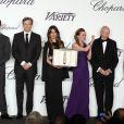 Jeremy Irvine, Colin Firth, Blanca Suarez, Caroline Scheufele, Gilles Jacob et Harvey Weinstein lors de la soirée des Trophées Chopard pendant le Festival de Cannes le 16 mai 2013