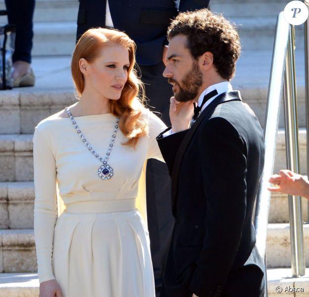 Jessica Chastain et son compagnon Gian Luca Passi quittent l'hôtel Cap-Eden-Roc à Antibes, le 21 mai 2013.