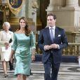 La princesse Madeleine de Suède et son fiancé Chris O'Neill, au Palais Royal de Stockholm, le 19 mai 2013.