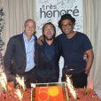Guy Forget, Henri Leconte et Yannick Noah lors de la soirée d'anniversaire d'Henri Leconte qui célébrait ses 50 ans au restaurant Très Honoré à Paris le 30 mai 2013