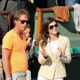 Caroline Barclay son ami Marc lors du quart de finale entre Jo-Wilfried Tsonga et Roger Federer (7-5, 6-3, 6-3) le 4 juin 2013 à Roland-Garros