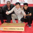 Chris Tucker et Jaden Smith lors de la cérémonie d'immortalisation des empreintes de Jackie Chan à Hollywood, le 6 juin 2013.