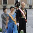 La princesse Takamado du Japon au mariage de la princesse Madeleine de Suède et de Chris O'Neill au palais royal à Stockholm le 8 juin 2013.