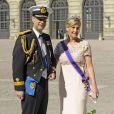 Le prince Edward et la comtesse Sophie de Wessex au mariage de la princesse Madeleine de Suède et de Chris O'Neill au palais royal à Stockholm le 8 juin 2013.