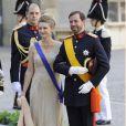 La princesse Stéphanie et le prince Guillaume, grand-duc héritier de Luxembourg, au mariage de la princesse Madeleine de Suède et de Chris O'Neill au palais royal à Stockholm le 8 juin 2013.