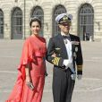 La princesse Mary et le prince Frederik de Danemark au mariage de la princesse Madeleine de Suède et de Chris O'Neill au palais royal à Stockholm le 8 juin 2013.