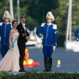 La princesse Marie et le prince Joachim de Danemark à Drottningholm pour la réception du mariage de la princesse Madeleine de Suède et de Chris O'Neill au palais royal à Stockholm le 8 juin 2013.