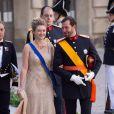 Stephanie et Guillaume de Luxembourg au mariage de la princesse Madeleine de Suède et de Chris O'Neill au palais royal à Stockholm le 8 juin 2013.