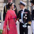 Mary et Frederik de Danemark au mariage de la princesse Madeleine de Suède et de Chris O'Neill au palais royal à Stockholm le 8 juin 2013.