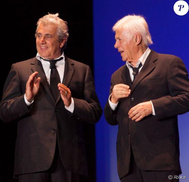 Michel Boujenah et Guy Bedos lors de la soirée Pour La Tunisie qu'on aime, qui s'est déroulée à L'Olympia à Paris, le 10 juin 2013.