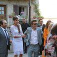 Patrick Timsit au côté de Céline Bosquet et Thomas Langmann à leur mariage civil à la mairie de Sartène, Corse du sud, le 21 juin 2013.