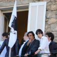 Yvan Attal et son fils au mariage civile de Thomas Langmann et Céline Bosquet la mairie de Sartène, Corse du sud, le 21 juin 2013.