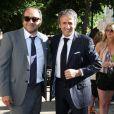 Patrick Timsit, Richard Anconina et Sarah Lavoine à la mairie de Sartène, Corse du sud, le 21 juin 2013.