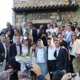 Darius Langmann, Céline Bosquet, Thomas Langmann, Alain Terzian, Dimitri Rassam, Brune de Margerie, Dominique Desseigne à la mairie de Sartène, Corse du sud, le 21 juin 2013.