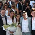 Darius Langmann, Céline Bosquet, Thomas Langmann, Alain Terzian à la mairie de Sartène, Corse du sud, le 21 juin 2013.