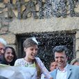 Mariage civil de Thomas Langmann et Céline Bosquet à la mairie de Sartène, Corse du sud, le 21 juin 2013.