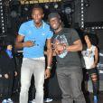 Usain Bolt et Youssoupha lors de la soirée Puma The Quest au Bus Palladium. Paris, le 3 juillet 2013.
