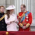 Kate Middleton et le prince William, bientôt parents, lors de Trooping the Colours le 15 juin 2013